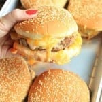 oven baked Cheeseburger straight from oven