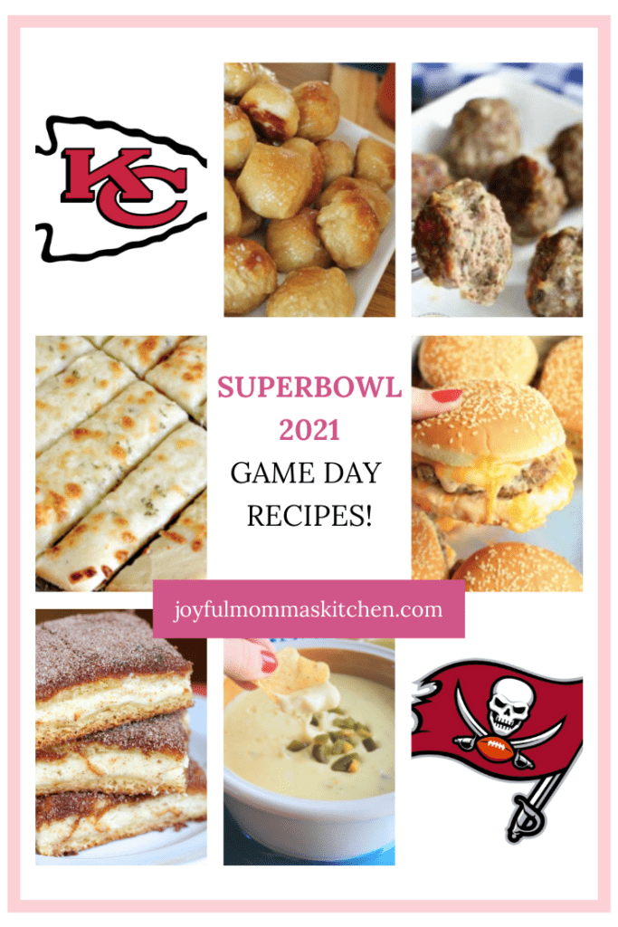 Superbowl recipes for game day 2021. Appetizers shown include Soft Pretzel Bites, Churro Cheesecake Bars, Salsa Verde Queso Dip, Best Baked Meatballs, Oven-Baked Cheeseburgers, and Cheesy Garlic Breadsticks.